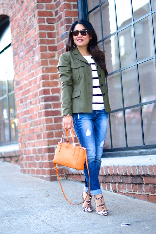 Utility jacket striped sweater distressed jeans