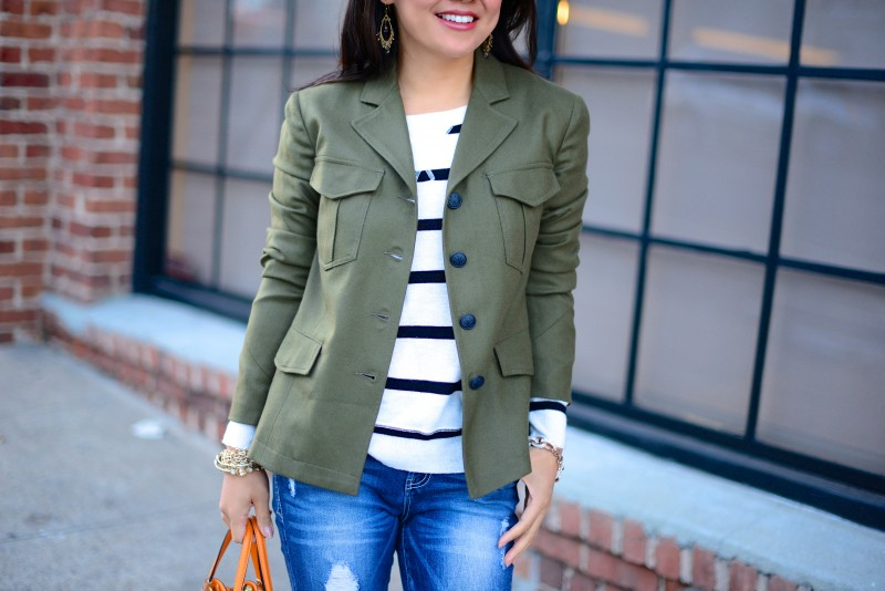 Army green blazer and striped sweater