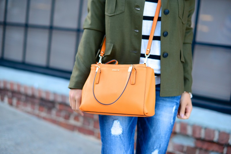 Orange satchel cross body bag