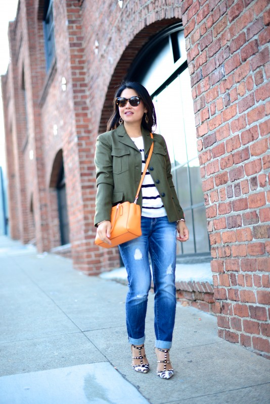 Chic army green utility jacket and jeans with heels