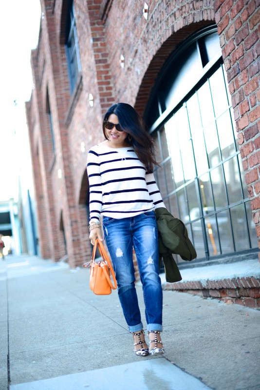 Striped sweater ripped jeans and leopard rockstud
