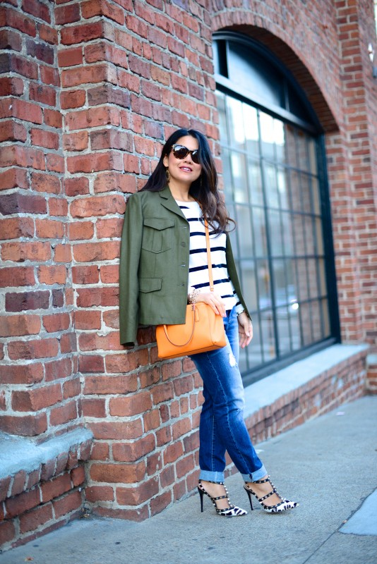 Army jacket stripes sweater boyfriend jeans and valentino heels