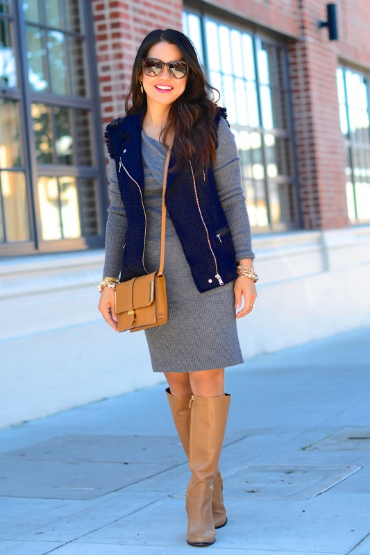Cozy outfit vest sweater dress and camel boots