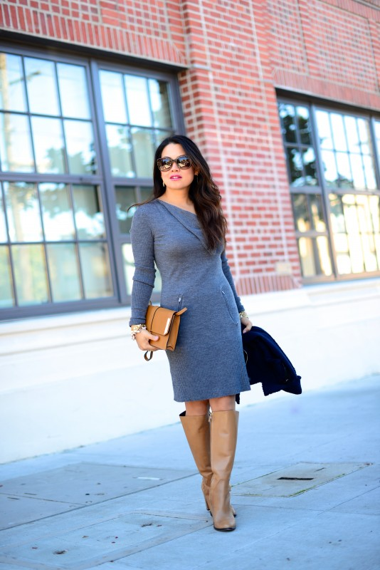 Fall grey sweater dress and boots