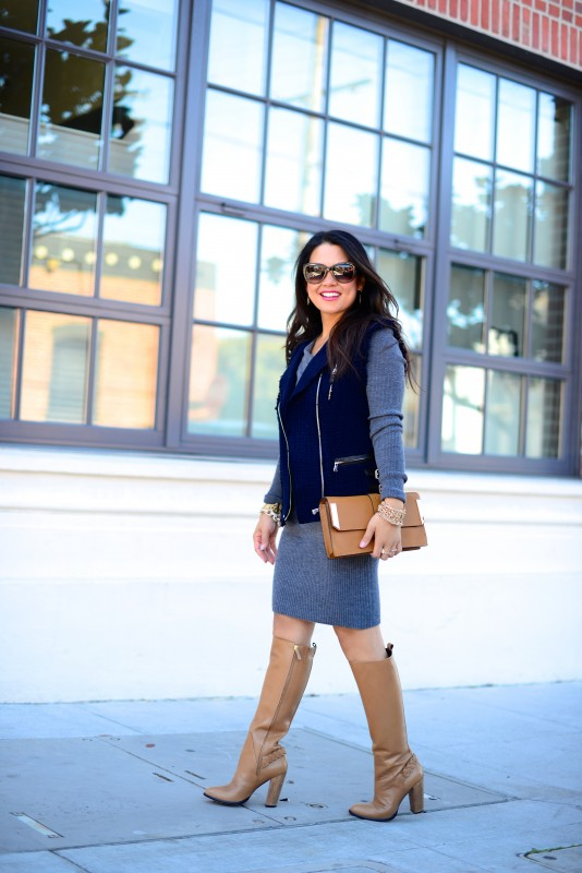 Fall Street chic sweater dress tweed vest and knee high boots