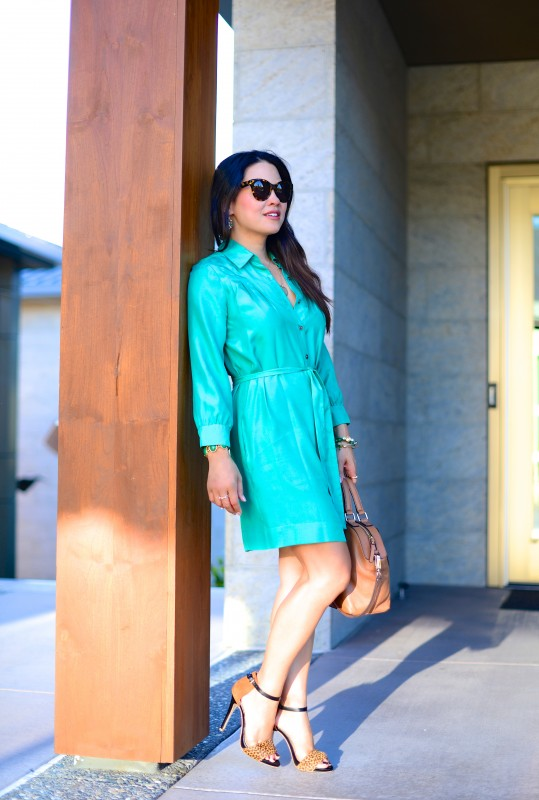 Shirtdress work look with leopard shoes