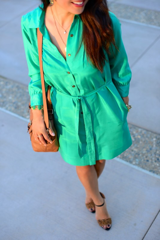 Silk shirtdress with leopard shoes