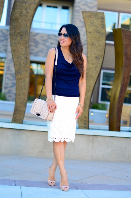 Professional outfit navy sweater lace pencil skirt