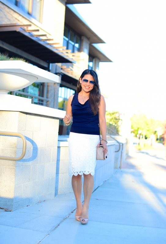 Navy and white outfit sweater lace pencil skirt