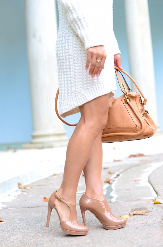 Sweater dress asymmetric hemline and Chloe paraty bag
