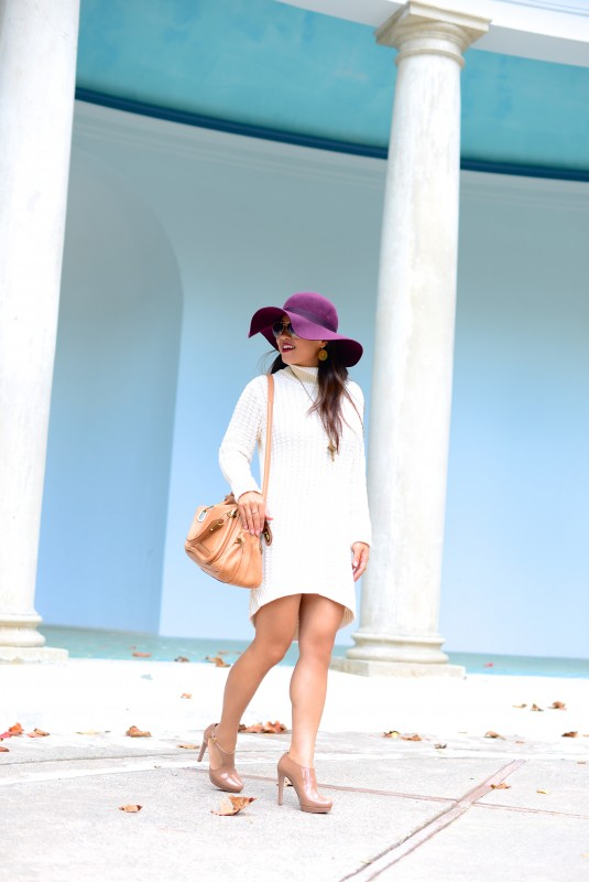 Fall sweater dress nude booties and plum hat