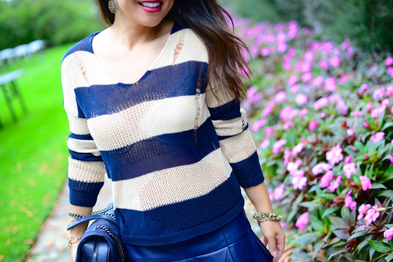 Bold navy stripes sweater