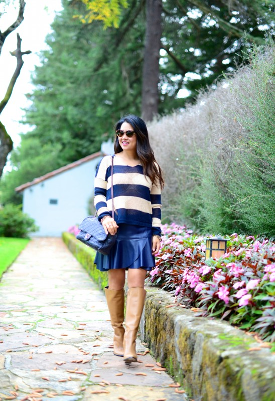 Bold stripes sweater faux leather mini skirt knee high boots