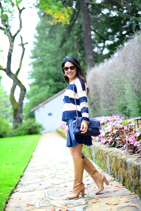 Tan navy stripe sweater navy skirt and tan knee high boots
