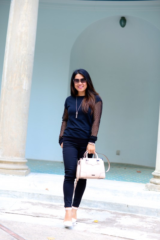 Laid back cool outfit all black and pink accessories