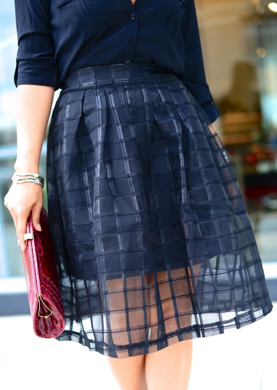 Sheer check midi skirt in black
