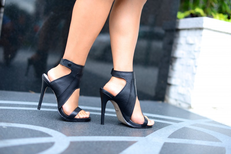 Edgy ankle cuff heel sandals by Joie