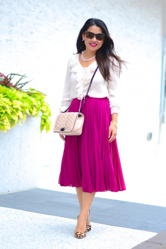 Professional outfit pleated midi skirt silk blouse leopard pumps