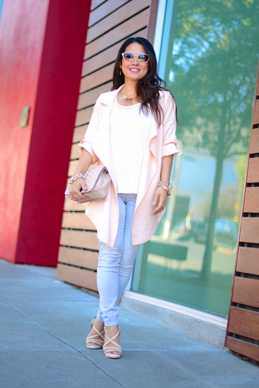 Casual draped pale pink jacket skinny jeans
