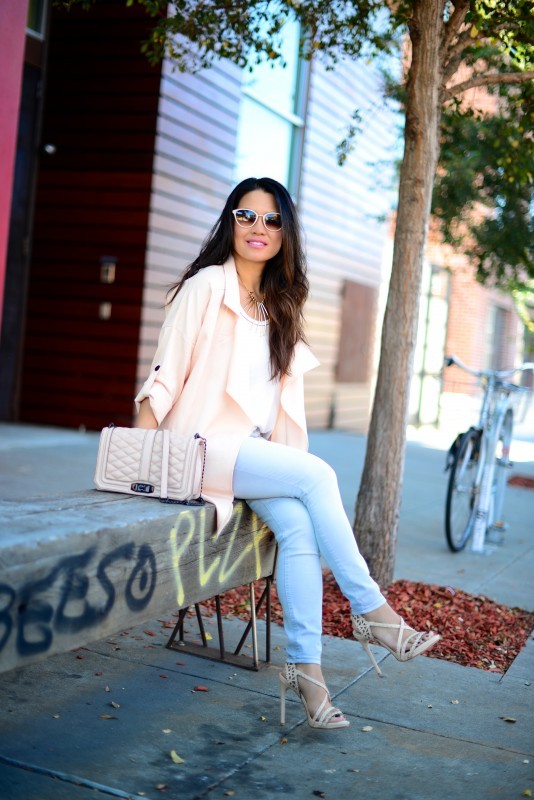 Casual chic blush draped jacket skinny light grey jeans