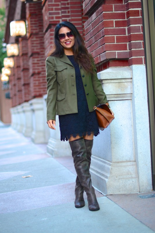Weekend chic army jacket lace dress thigh high boots