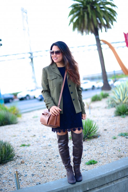 Army jacket lace dress over the knee boots