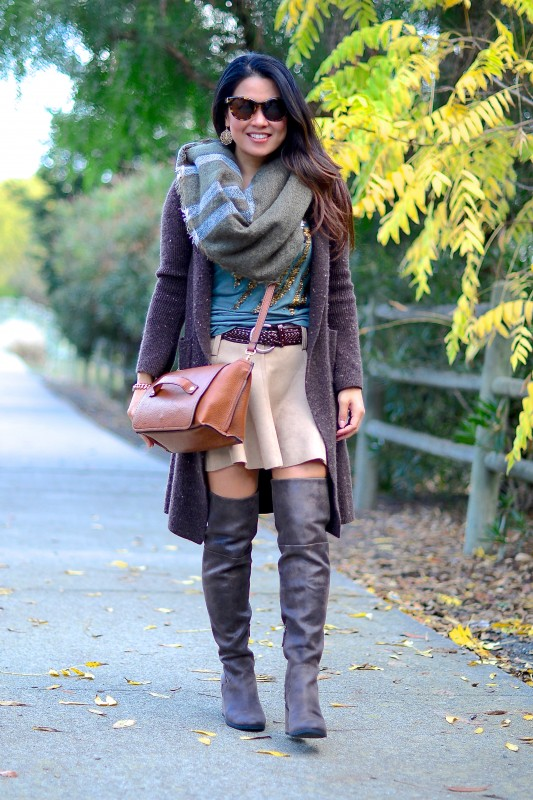 Fall outfit colors camel skirt brown cardigan over the knee boots