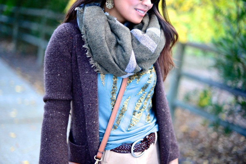 Fall layers olive green scarf and brown cardigan