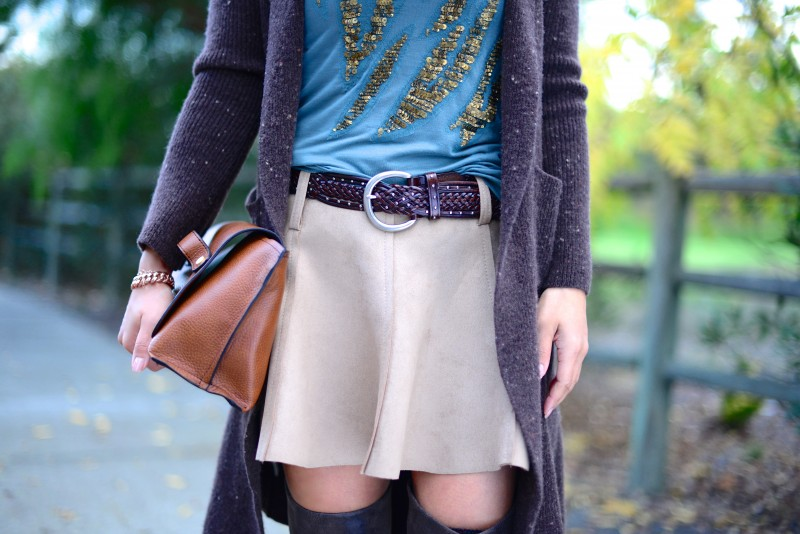 Earth tone colors tan flared skirt long brown cardigan