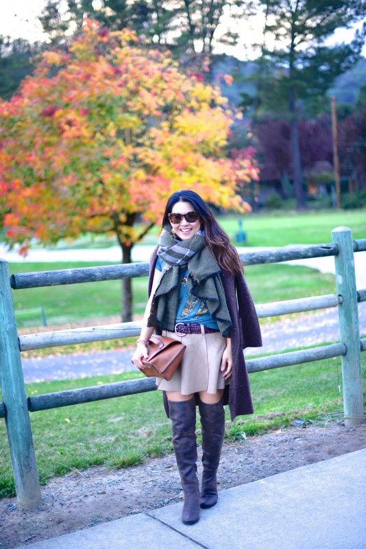 Earth tone layers scarf boots and cardigan