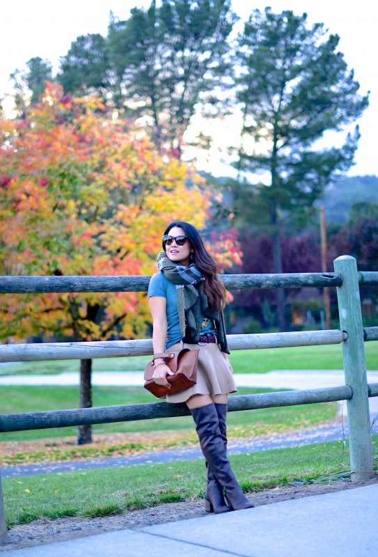Safari colors fall fashion green scarf and over the knee boots