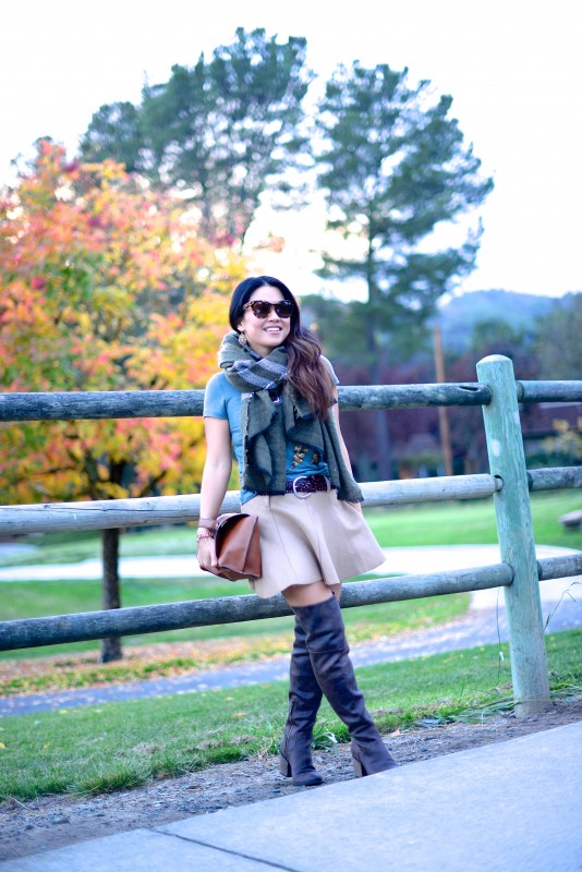 Autumn colors camel skirt green scarf and brown boots