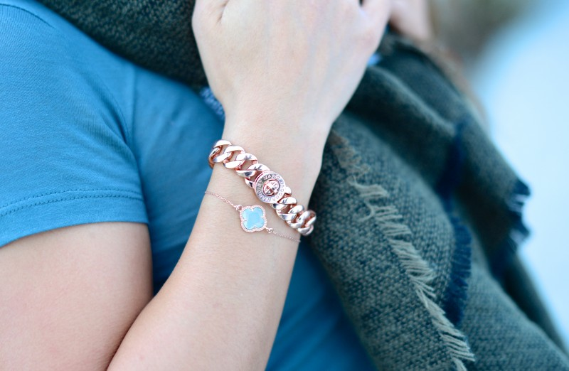 rose gold link bracelet and clover fashion jewelry
