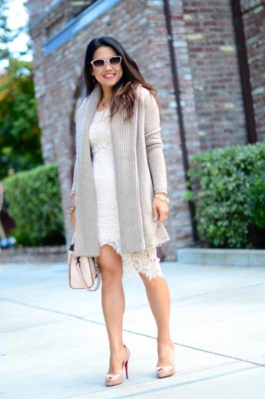 Neutral outfit open cardigan with lace dress
