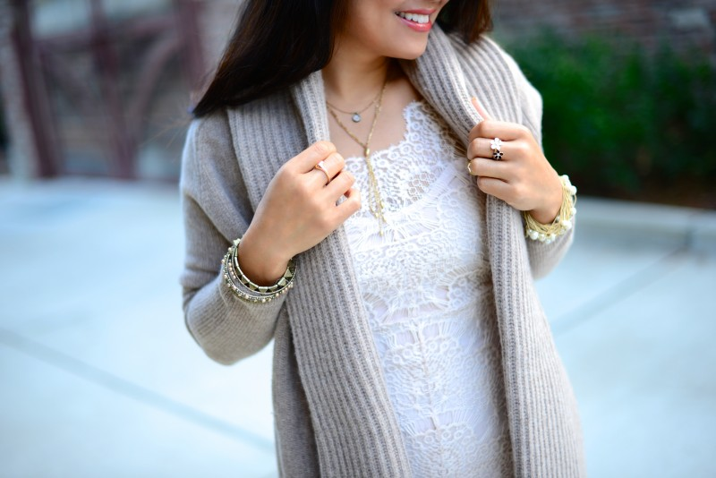 Ivory lace dress sheath cashmere cardigan