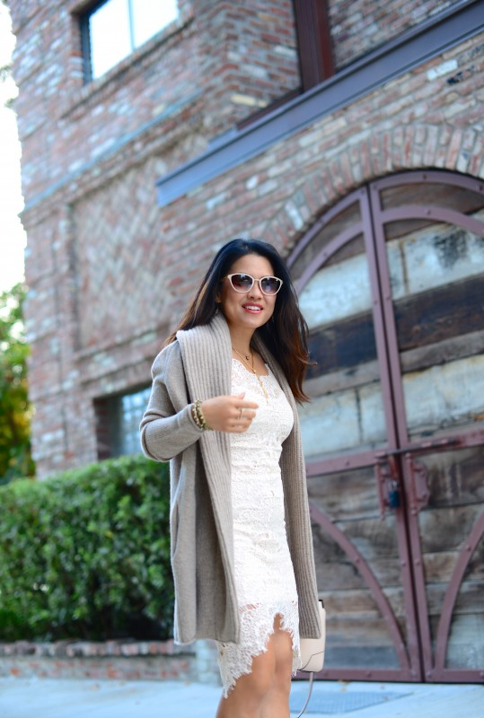 Fall Fashion neutral cardigan and lace dress