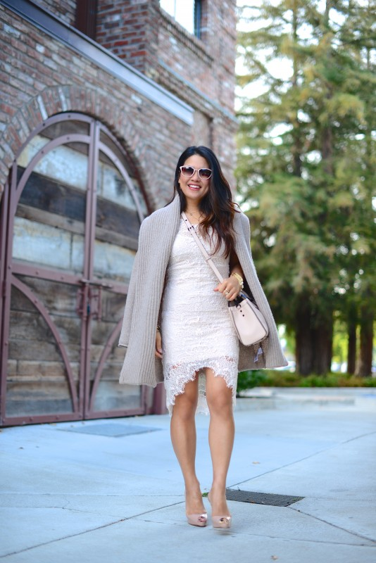 Classy neutral outfit lace sheath cardigan and cross body bag