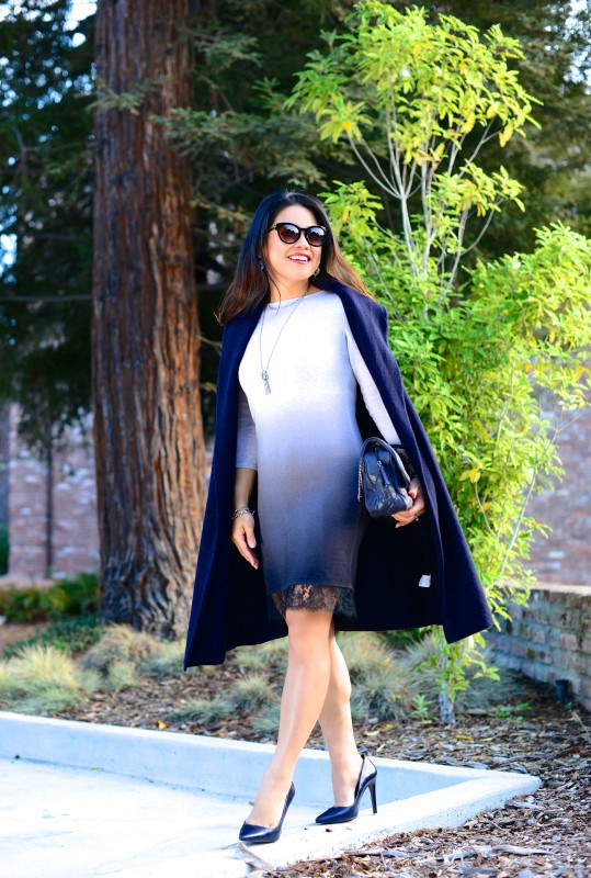 Fall fashion blue ombre dress navy coat
