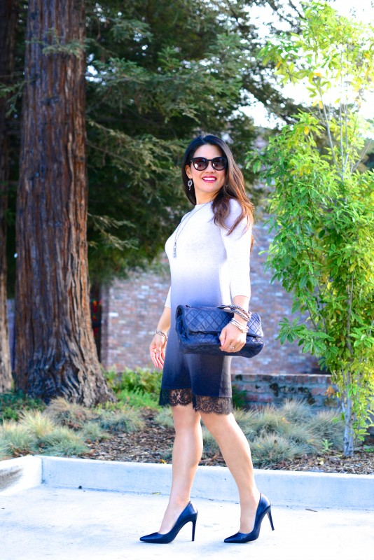 blue ombre dress navy pump and chanel shoulder bag