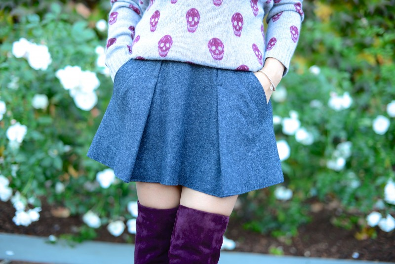 Fall winter mini skirt with pockets over the knee boots
