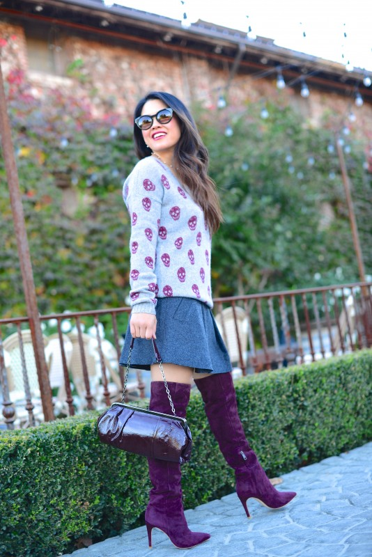 Burgundy sweater skirt and over the knee boots beachy long ombre hair