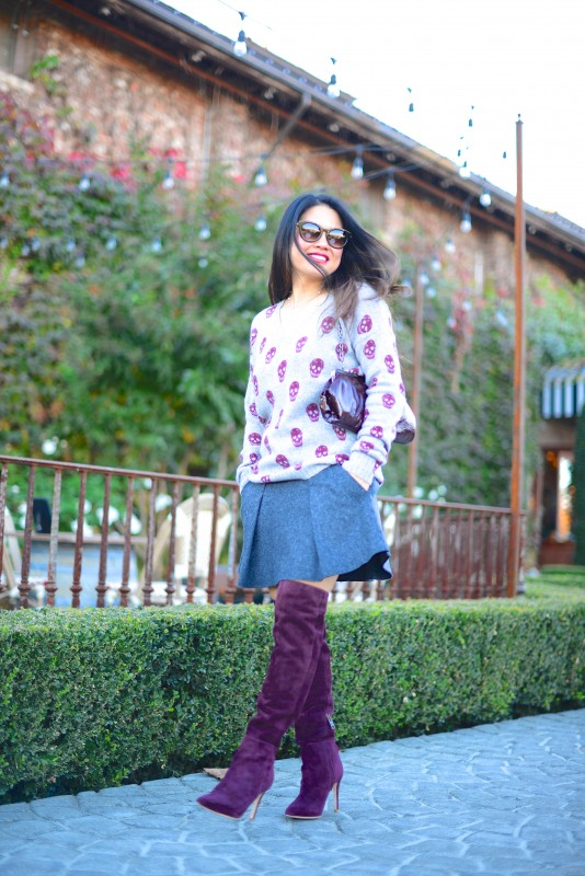 Burgundy boots sweater and mini skirt